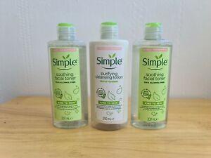 Simple Facial Toner & Cleansing Lotion Bundle 200ml Bottles NEW