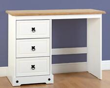 Seconique CORONA White & Distressed Waxed Pine 3 Drawer Dressing Table