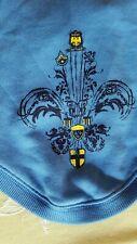 Blue OLD NAVY Dog Hoodie w/ Fleur de Lis Graphic Sweat Shirt Pullover Tee Sz Sm