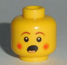 HEAD MF027 Lego Male Rosy Cheeks Open Mouth, Brown Eyebrows NEW Caroler Yellow