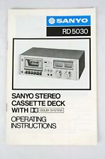 VINTAGE ~ SANYO RD 5030 STEREO CASSETTE OPERATING INSTRUCTIONS W/ SPECS