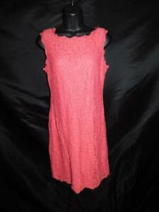 Adrianna Papell Size 8 Pink Lace Dress Sleeveless Knee Exposed Back Zipper Lined