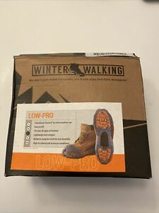 Winter Walking Low-Pro Ice Cleats Model #JD6610 Size Large-Orange And Gray Open