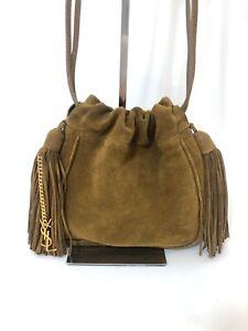 Saint Laurent Helena Suede Fringe Bag in Tan $1190 Authentic