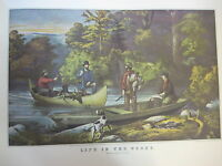 Vintage Currier & Ives America Color Print, Life In The Woods-Returning To Camp