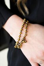 Paparazzi aurum rhinestones & faceted beads stretchy bracelet