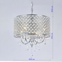 Modern Elegant Crystal Pendant Light Fixture LED Ceiling Hanging Chandelier Lamp