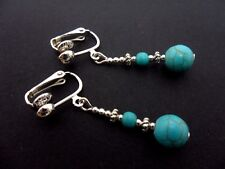 A PAIR TIBETAN SILVER TURQUOISE  BEAD  DANGLY CLIP ON EARRINGS. NEW.