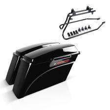 Set con pagine valigia valigia e travi per Harley Softail Deluxe 05-13 latch Nero