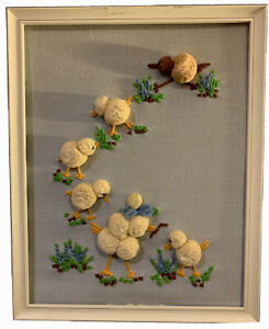 VTG 70's Needlepoint Embroidery Crewel Finished Picture ADORABLE-BABY CHICS!