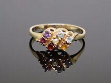 Vintage 0.7CT Multi Gemstone 10K Gold Ring, 3.1g, size 9.75