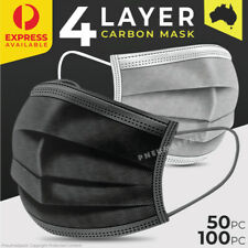 4-Layer Disposable Face Mask Black - Protective Mouth Filter Cover - 50/100pcs