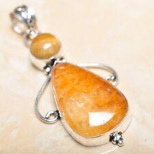 "Handmade Calcite Jasper Gemstone 925 Sterling Silver Pendant 2.5"" #P15079"