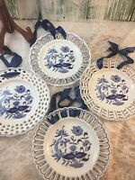 Set Of 4 Blue & White Plates Wall Display Hanging Ribbon Reticulated #211