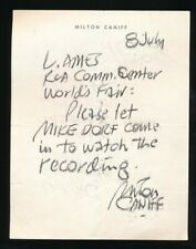 MILTON CANIFF 1964 Authentic Autographed Note STEVE CANYON Cartoonist NYWF