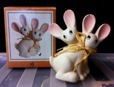 Two Friendly Rabbits Hares Resin Ornament Figure Sculpture Home Decor Bunnies
