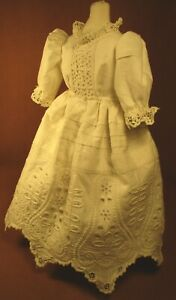 "Vintage Doll Dress for 17""-18"" Bisque Doll - Ivory Cotton Eyelet w/Tucks"