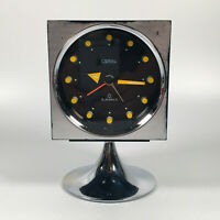 Retro Chrome Space Age CORAL Pedestal Cube Alarm Clock | Made in Japan - RARE