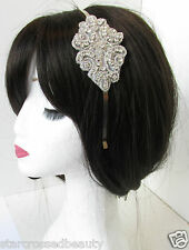 Silver Beaded Rhinestone Headband Bridesmaids Bridal Vintage 1920s Prom 30s R46