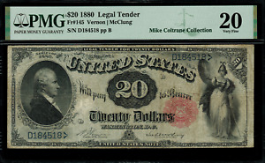 1880 $20 Legal Tender FR-145 - Graded PMG 20 - Very Fine - 86 Known