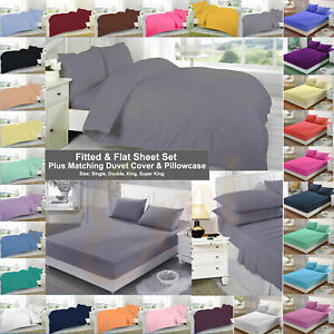 Fitted & Flat Sheet Set Plus Matching Duvet Cover With Two Pillowcase,All Sizes