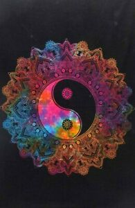 Small Poster Flower Yin Yang Design Tapestry Wall Hanging Table Cover Beautiful