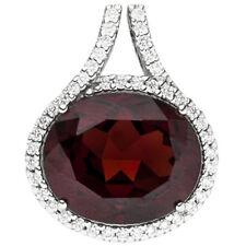 Anhänger 585 Gold Weißgold 44 Diamanten Brillanten 1 Granat rot Granatanhänger