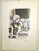Lithograph Water Color Painting By David Schaler Black & Color Signed & Numbered