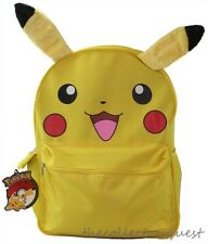 "Pokemon Pikachu with 3D PLUSH EARS Large Yellow School Backpack 16"" Book Bag"