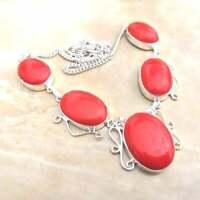 "Handmade Red Coral Jasper Gemstone 925 Sterling Silver Necklace 20"" #N01755"