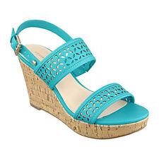"""""""Liz Claiborne® """"   Kian Turquoise Laser Cut  3 1/4"""" Wedge Sandals   - 11M"""