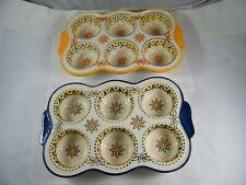 Ct Cooks Tradition Ceramic Muffin Cupcake Pan Lot Of 2 Blue & Yellow Borders