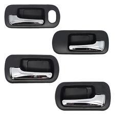 Inside Door Handles Set - Front + Rear + Left + Right - Black w/ Chrome Lever