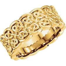 14K Gold Celtic Knot Ring 8mm Yellow or White Gold Open Work Vines Wedding Band