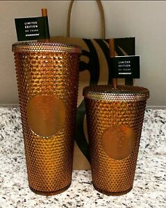 STARBUCKS 2021 studded honey comb gold venti grande 50th anniversary cold cup