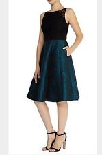 Gorgeous *Coast* (size Uk 18) Emma Jacquard Dress , Black & Green , BNWT