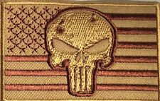 USA FLAG TAN PUNISHER TACTICAL SKULL MILITARY NRA MOTORCYCLE IRON/SEW PATCH K-25