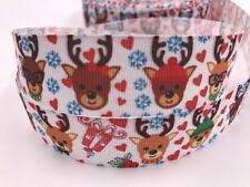 DIY 5 Yard 1'' Christmas deer Printed Grosgrain Ribbon Hair Bow Sewing Ribbon