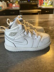 Toddler's Size 6C Authentic Nike Air Jordan 1 Mid TD white Basketball Shoes