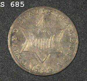 """1854 *Silver* Three-Cent Piece (Trime) """"XF"""" *Free S/H After 1st Item*"""