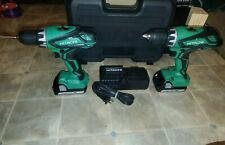 2 drills/ Hitachi DS18DGL 18-Volt 1/2-Inch Lithium-Ion Cordless Drill/Driver.