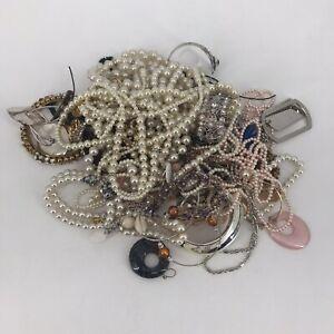 Junk Jewelry Lot 2 lbs Repurpose Craft Repair DIY Beads Chains Earrings Bracelet