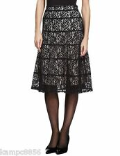 New M&S Black Lace & Nude Lined Skirt Sz UK 8