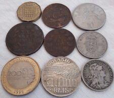 LOT OLD WORLD COINS SILVER BRASIL 1936 5000 REIS PORTUGAL 1883 1884 1931 UK 1806