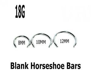 Eyebrow Nipple Bars Horseshoe Barbell Blanks 5 Replacement Threaded Nose Ear 18g