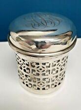 Antique UK Art Deco Solid Sterling Silver Jar with Lid & Milk Glass Liner Vanity