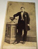Antique American Civil War Era Fashion Handsome Young Man! New York CDV Photo!