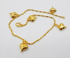 Hearts 22K 24K Gold Plated Foots Jewelry Bracelet Charm Ankle Anklets Bell 9""