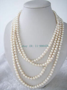 """Beautiful 7-8mm Natural White Akoya Cultured Pearl Necklace 70"""""""