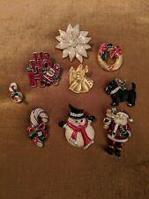 Lot 9 Christmas Brooch Pins Holiday Vintage Mixed Lot Rhinestones Good Quality